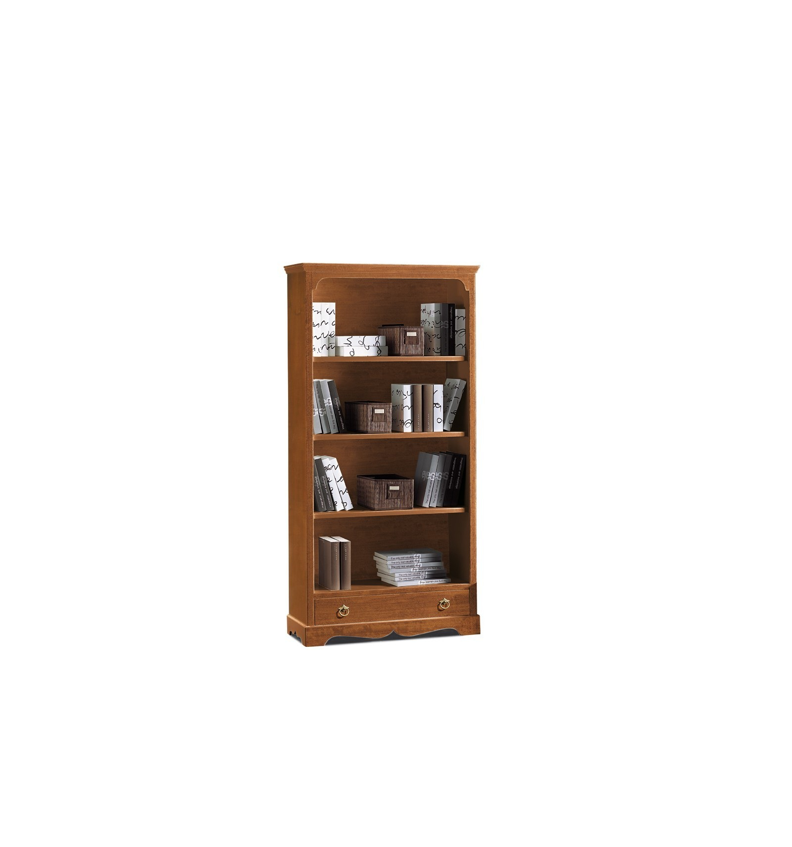 Libreria In Legno Noce.Libreria Classica 4 Ripiani 1 Cassetto Tinta Noce W312 N Lo