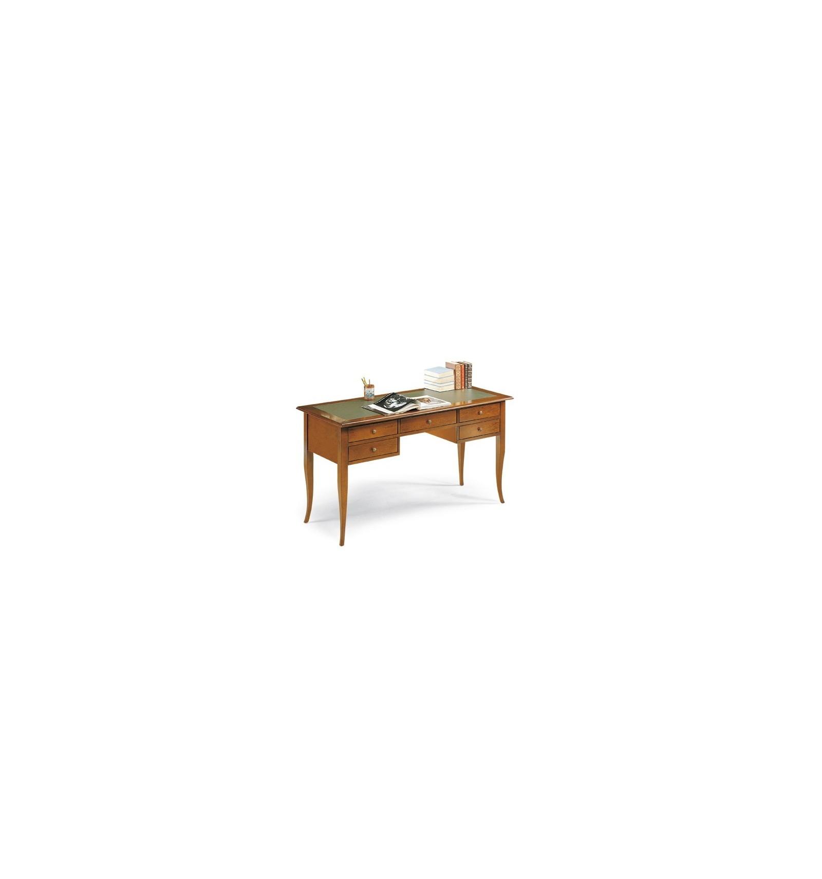 Scrivania scrittoio 5 cassetti piano finta pelle classico for Piano scrivania