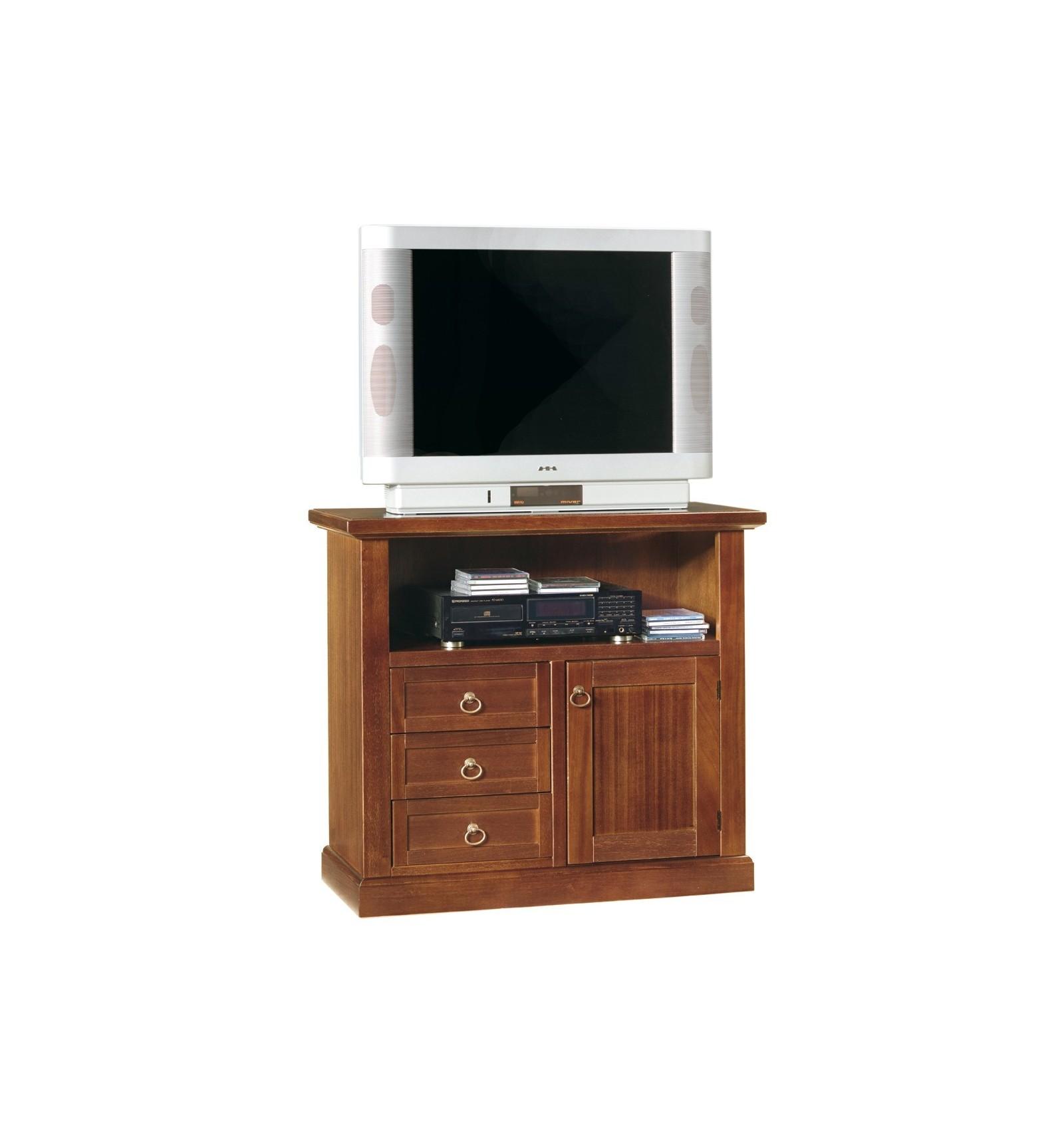 Porta TV Arte povera 1 porta 3 cassetti 1 vano tinta noce W378/N ...
