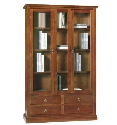 Libreria/Vetrina Arte povera 2 porte 4 cassetti tinta noce W389/N