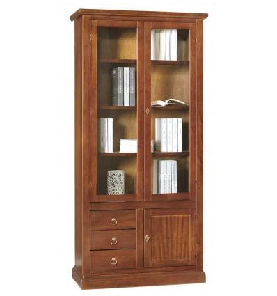 Libreria/Vetrina Arte povera 3 porte 3 cassetti tinta noce W388/N