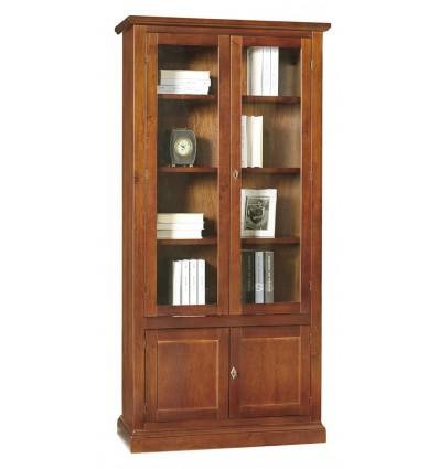 Libreria/Vetrina Arte povera 2 porte vetro 2 ceche tinta noce 387/N