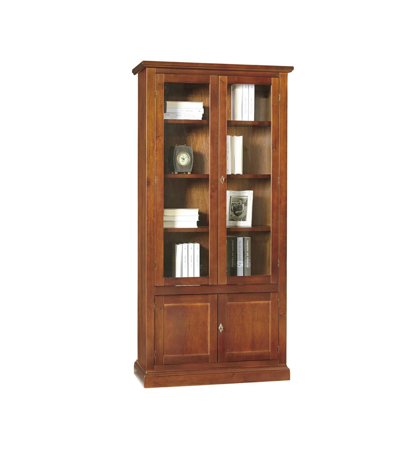 Libreria vetrina arte povera 2 porte vetro 2 ceche tinta for Libreria acciaio e vetro