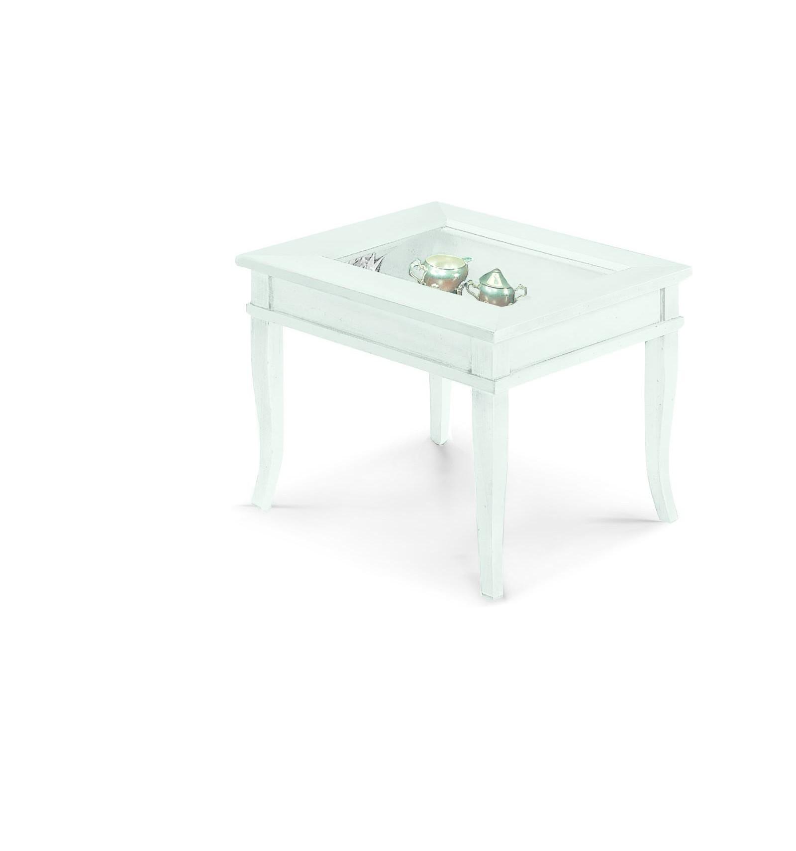 Tavolino quadrato da salotto Classico con vetro W1016/L - Lo Scrigno ...