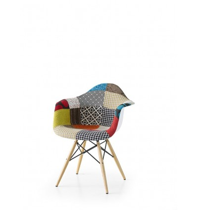 sedia poltroncina in tessuto patchwork ART. W646/M