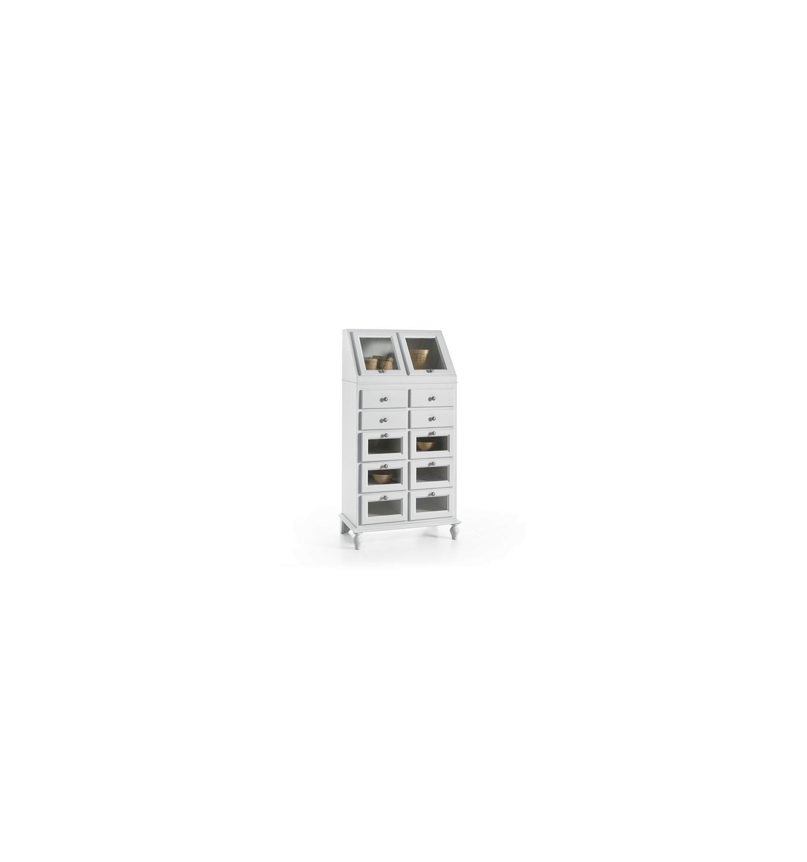 Dispensa da cucina 2 porte ribalta 10 cassetti laccata bianco W6058 ...