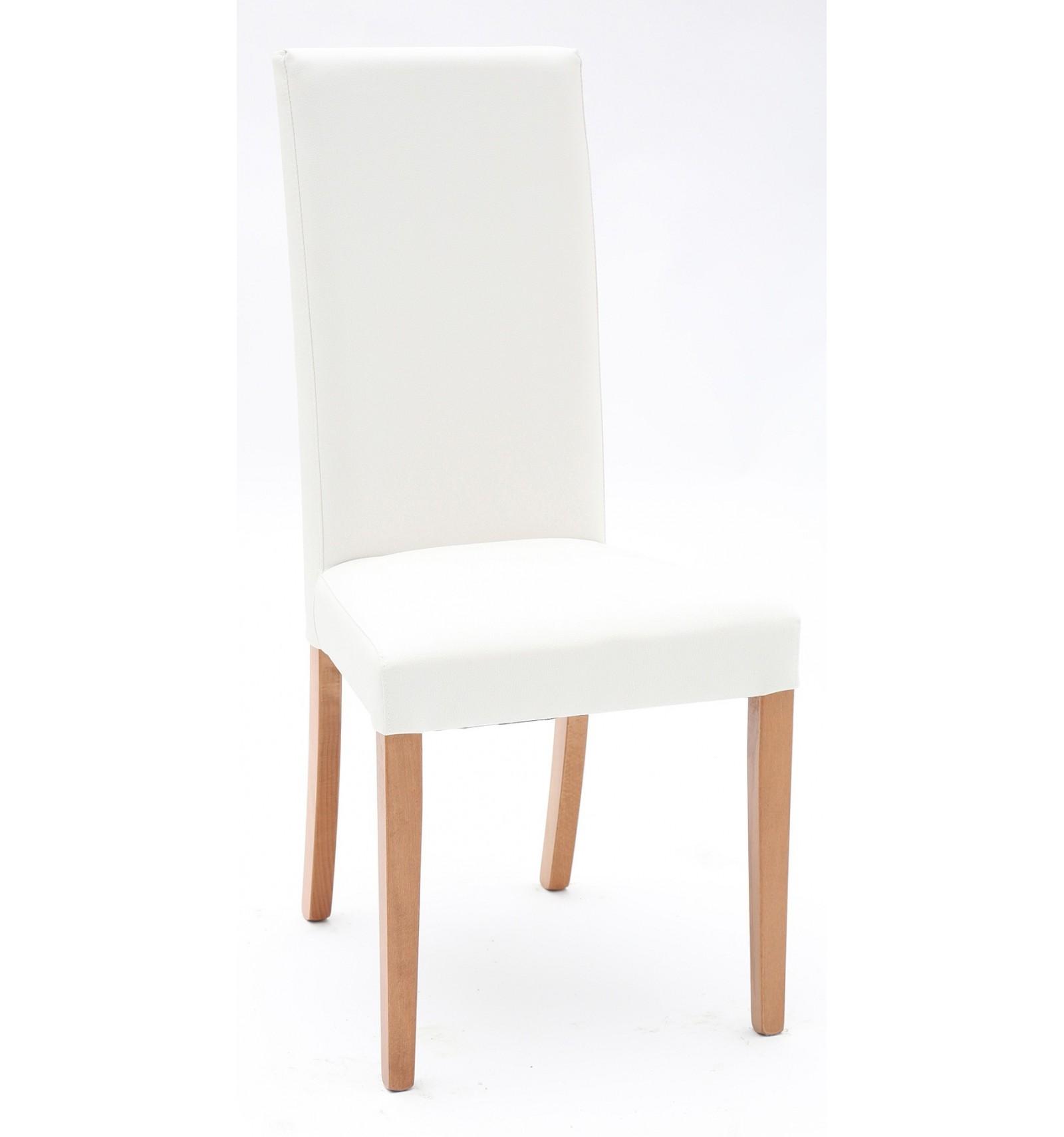 Set 2 sedie Ecopelle Bianca con Fusto Rovere - Lo Scrigno Arredamenti