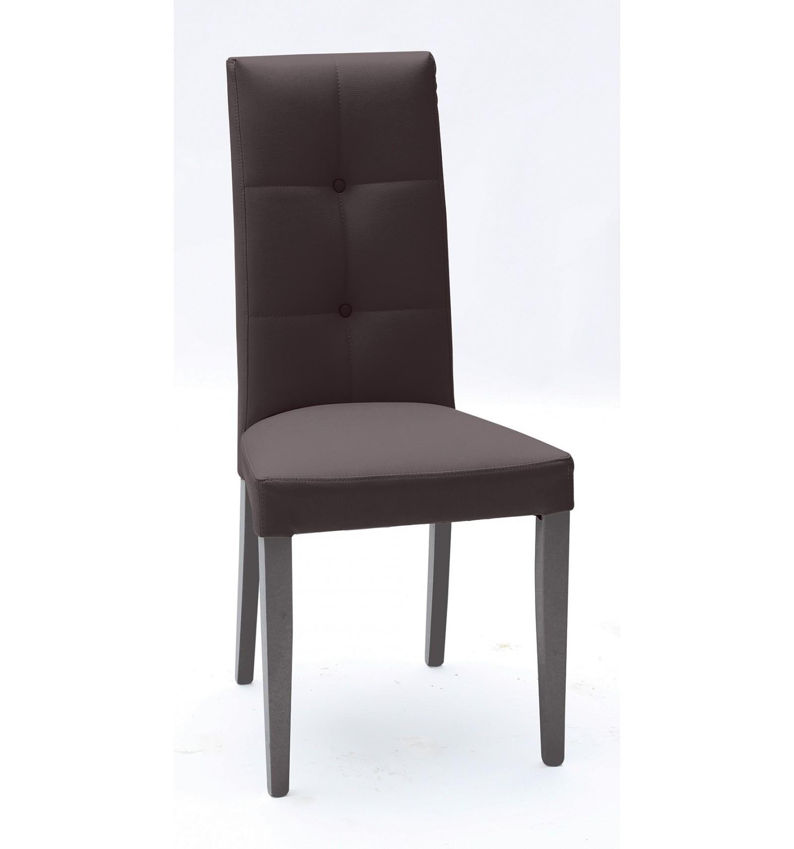Set 2 sedie Ecopelle Marrone con Fusto Wenge - Lo Scrigno Arredamenti