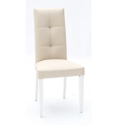 Set 2 sedie Ecopelle Beige con Fusto Bianco