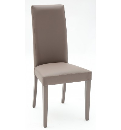 Set 2 sedie Ecopelle Tortora con Fusto Tortora