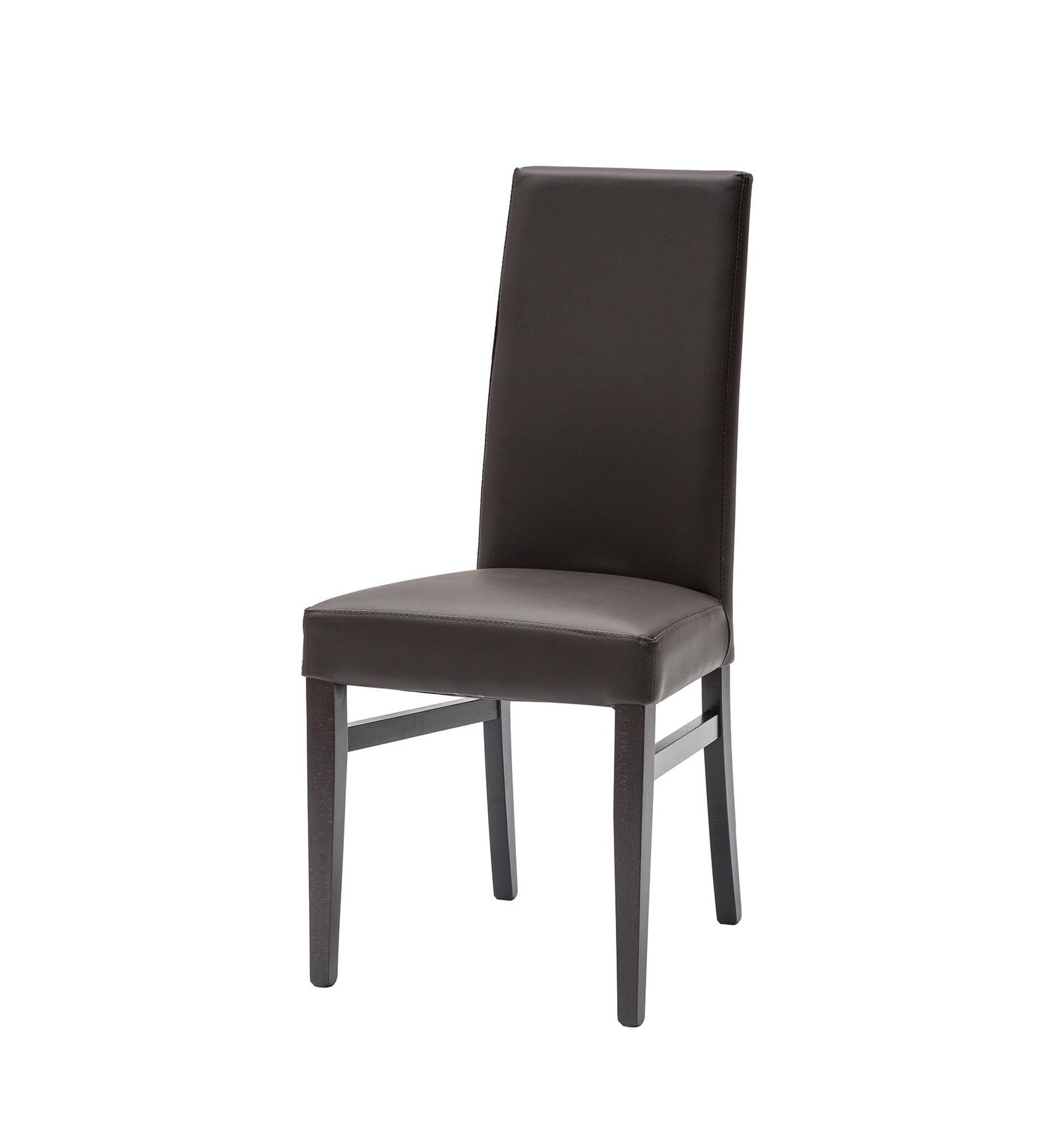 set 2 sedie moderne ecopelle testa di moro con fusto wenge