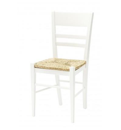 SET 2 sedie col. Bianco con Fondino Paglia