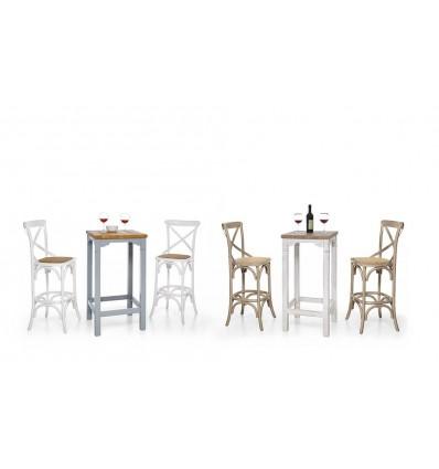 Tavolino bar in abete laccato azzurro/piano miele