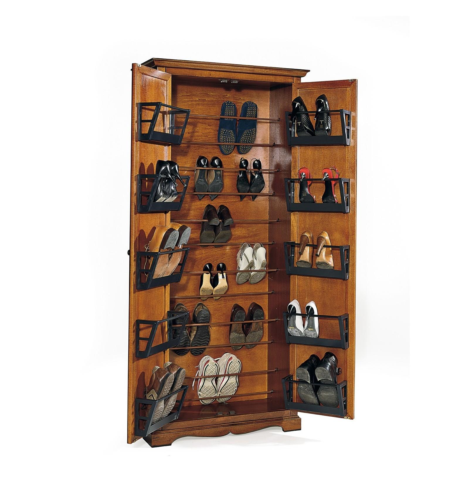 Armadio porta scarpe classico 2 ante noce w521 n lo scrigno arredamenti - Portascarpe da armadio ikea ...
