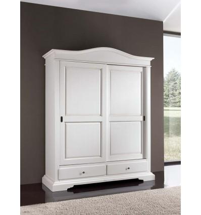 W335NS2PL armadio 2 porte scorrevoli con 2 cassetti laccato bianco