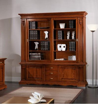 Libreria 2 ante vetro 2 ante ceche cassetti e ripiani registrabili art W260NS