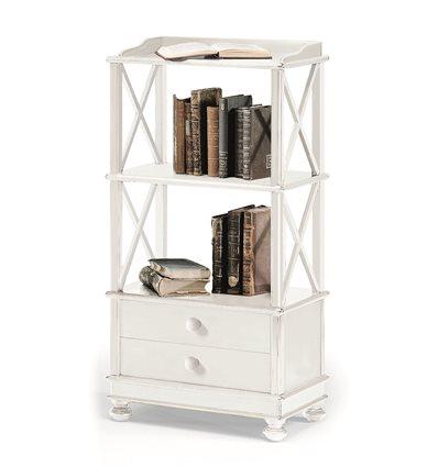 Libreria Classica 2 ripiano 2 cassetti fianchi croce laccata bianco W1196/L