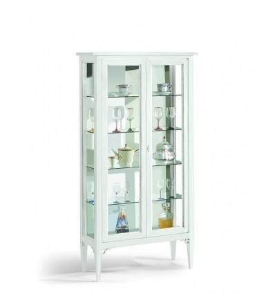 Vetrinetta 2 porte ripiani vetro laccata bianco W1177/L