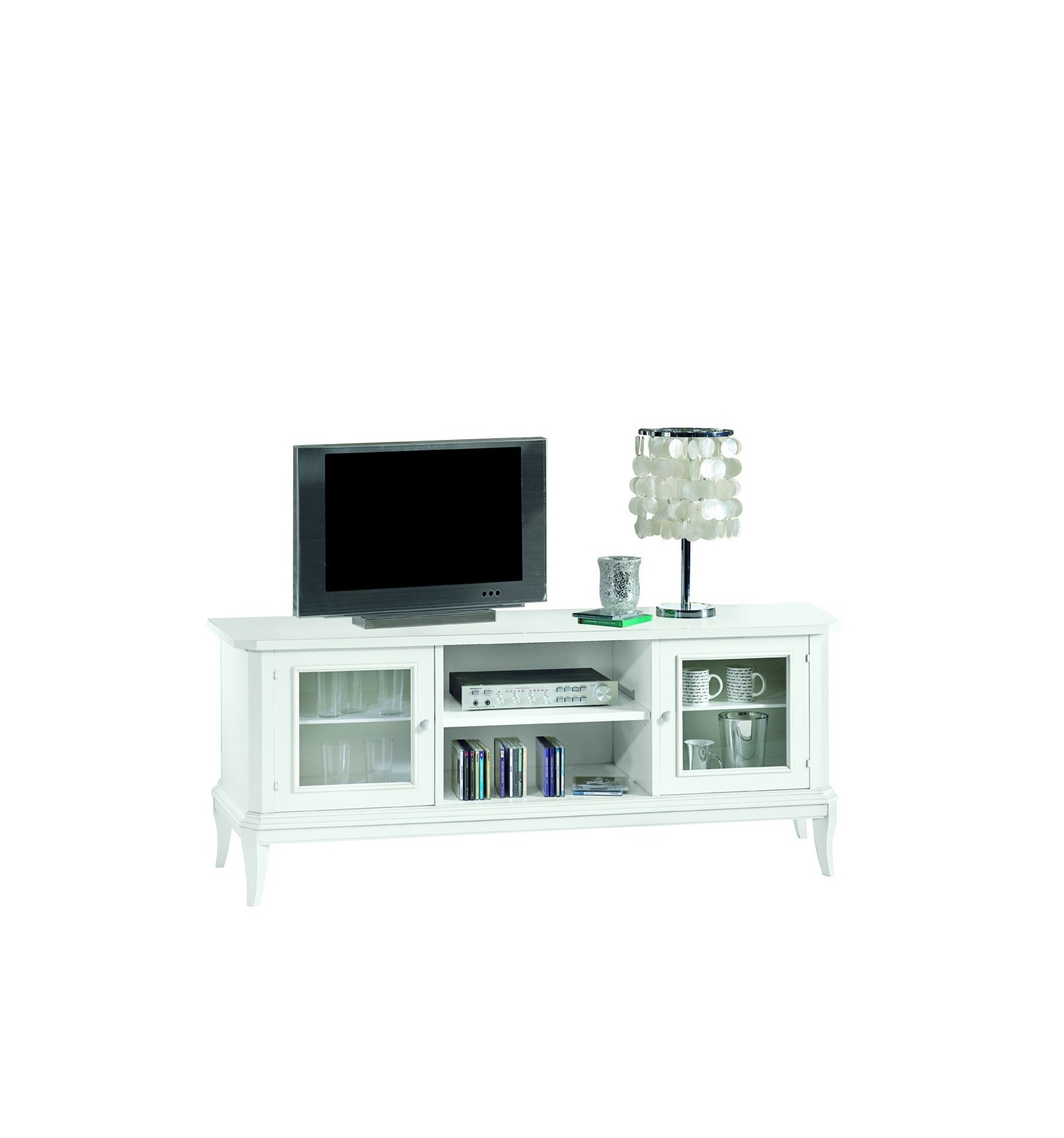 Base porta TV Classica 2 porte a vetro laccato bianco W1442/L - Lo ...