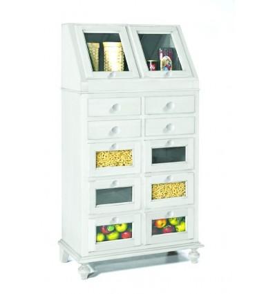 Dispensa da cucina 2 porte ribalta 10 cassetti laccata bianco W1243/L