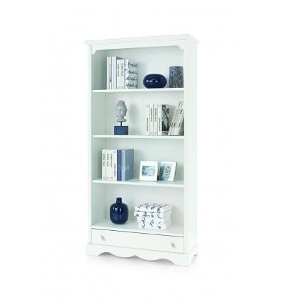 Libreria Classica 4 ripiani 1 cassetto bianco opaco W1502/L