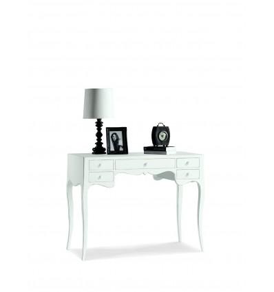 Scrivania/Scrittoio 5 cassetti piano legno laccato bianco W1413/L ...