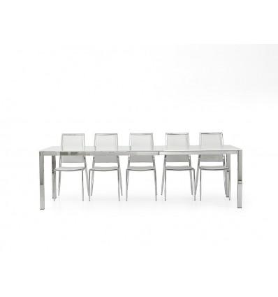 Tavolo rettangolare allungabile piano vetro temperato 140-190 W602/M ...