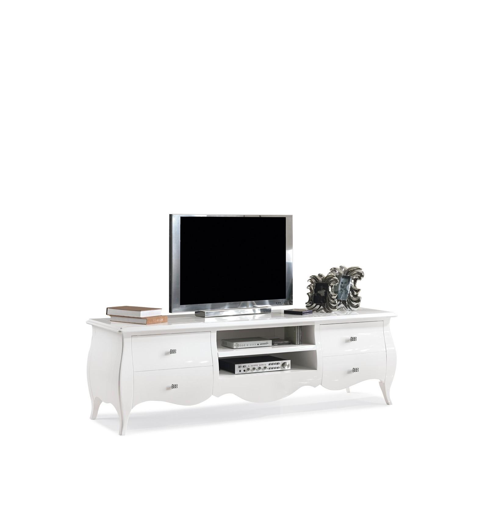 Base porta TV Classica 4 cassetti laccata bianca W482/B - Lo Scrigno ...