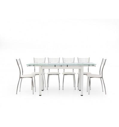 Tavolo rettangolare allungabile piano vetro 110-170 W608/M