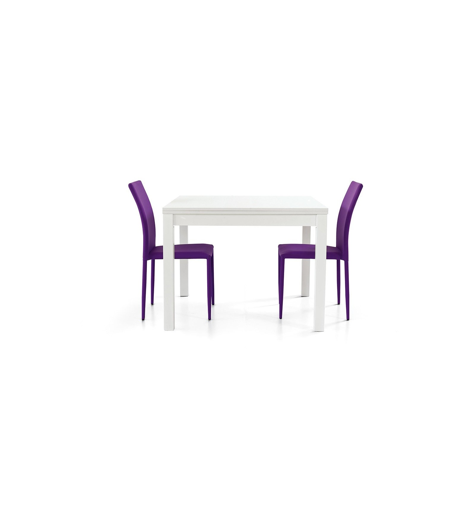 Tavolo quadrato allungabile a libro bianco frassinato 100-200 W557/M ...