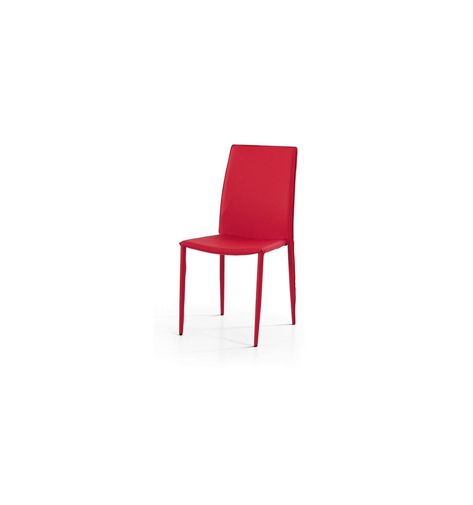 Set 4 Se Moderne ecopelle rosse Sedia Cucina Soggiorno W614 M