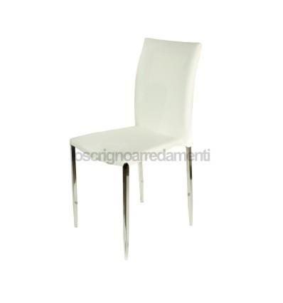Set 4 sedie moderne ecopelle bianche sedia cucina for Sedie bianche per cucina
