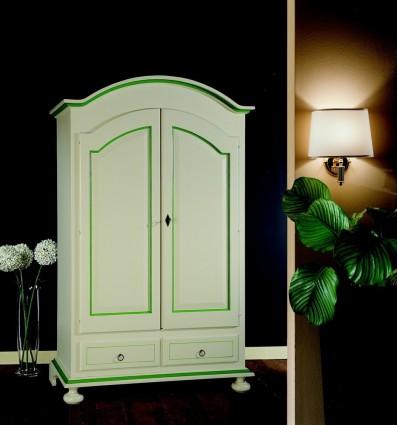 Armadio Classico 2 Ante 2 cassetti bianco con filetto verde L250/FL